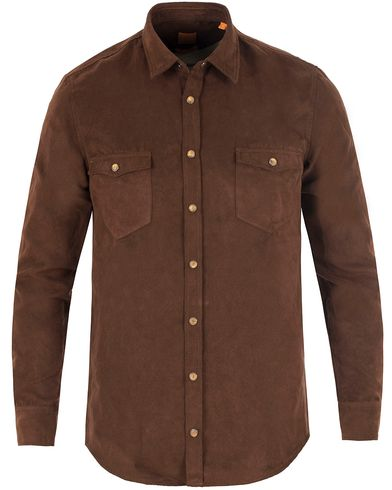 Boss Orange EdoslimE Slim Fit Polyester Suede Shirt  Brown i gruppen Klær / Skjorter / Casual skjorter hos Care of Carl (13458911r)