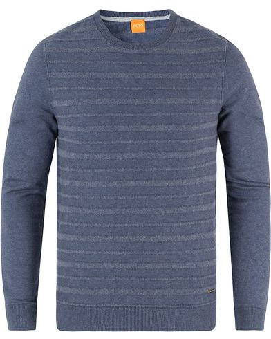 Boss Orange Wertigo Brushed Stripe Crew Neck Sweatshirt Blue i gruppen Gensere / Sweatshirts hos Care of Carl (13459011r)