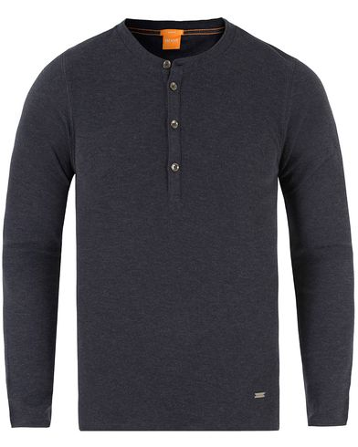 Boss Orange Topsider Fine Heather Waffle Henley Navy i gruppen Tr�jor / Farfarstr�jor hos Care of Carl (13459311r)