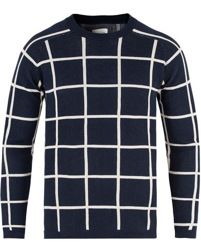 GANT Rugger R. Checked Cotton Crew Neck Evening Blue i gruppen Kläder / Tröjor / Pullovers / Rundhalsade pullovers hos Care of Carl (13465411r)