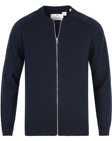 Gant Diamond G G. Merino/Silk Zip Thorugh Jacket Marine i gruppen Tröjor / Zip-tröjor hos Care of Carl (13466011r)