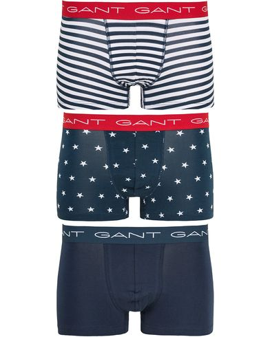 Gant 3-Pack Cotton Stretch Print Trunk Marine i gruppen Kläder / Underkläder hos Care of Carl (13467011r)