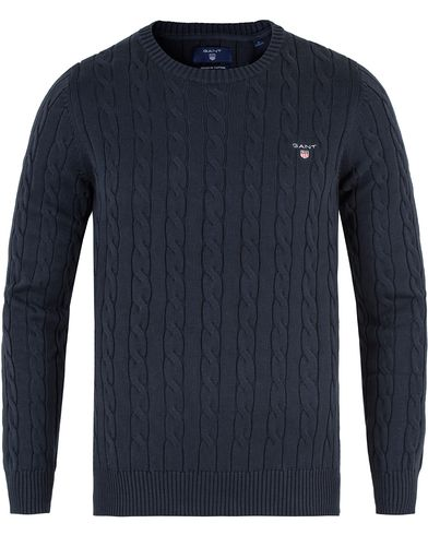 Gant Cotton Cable Crew Pullover Marine i gruppen Tröjor / Pullovers / Rundhalsade pullovers hos Care of Carl (13467611r)