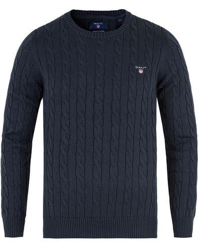 Gant Cotton Cable Crew Pullover Marine i gruppen Kläder / Tröjor / Stickade tröjor hos Care of Carl (13467611r)