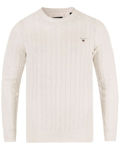 Gant Cotton Cable Crew Pullover Eggshell i gruppen Tröjor / Stickade tröjor hos Care of Carl (13467711r)