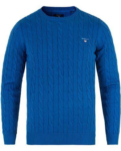 Gant Cotton Cable Crew Pullover Nautical Blue i gruppen Design A / Gensere / Strikkede gensere hos Care of Carl (13467911r)
