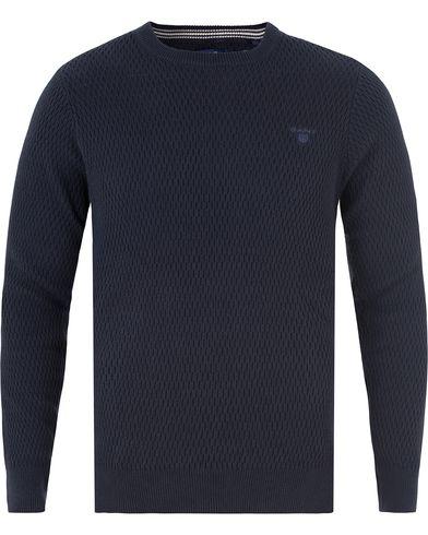 Gant Cotton Texture Crew Neck Marine i gruppen Design A / Gensere / Strikkede gensere hos Care of Carl (13468011r)