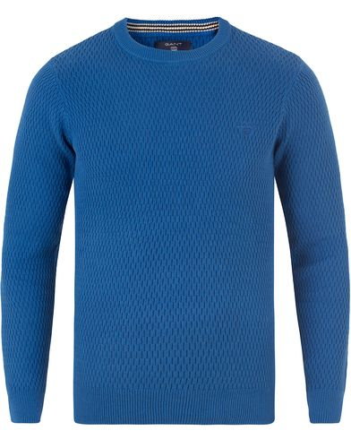 Gant Cotton Texture Crew Neck Nautical Blue i gruppen Klær / Gensere / Strikkede gensere hos Care of Carl (13468111r)