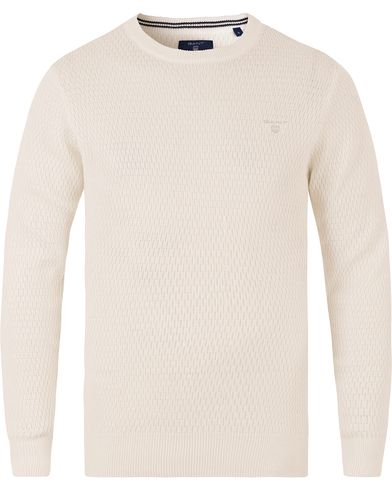 Gant Cotton Texture Crew Neck Eggshell i gruppen Design A / Gensere / Strikkede gensere hos Care of Carl (13468211r)