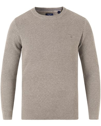 Gant Cotton Texture Crew Neck Grey Melange i gruppen Tröjor / Stickade tröjor hos Care of Carl (13468311r)