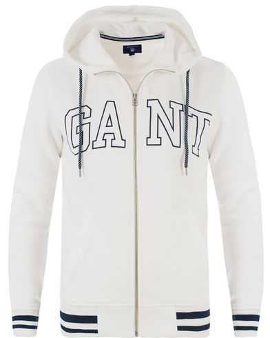 Gant Outline Full Zip Hoodie Eggshell i gruppen Design A / Tröjor / Huvtröjor hos Care of Carl (13469011r)