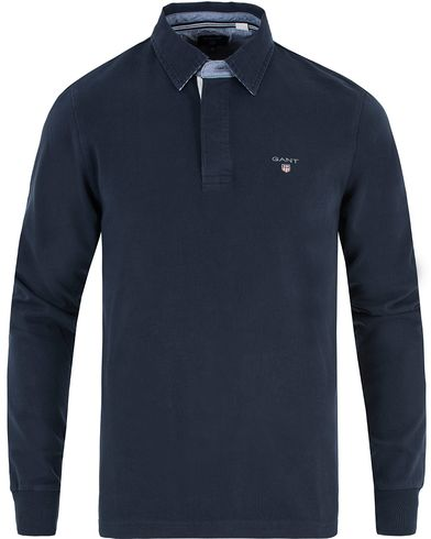 Gant Solid Heavy Rugger Thunder Blue i gruppen Tröjor / Rugbytröjor hos Care of Carl (13469811r)