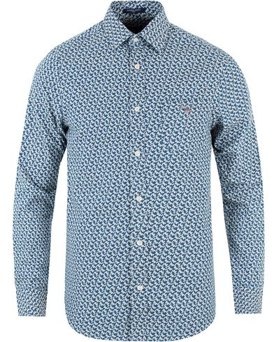 GANT Mini Leaf Indigo Fitted Body Shirt Blue i gruppen Kläder / Skjortor / Casual skjortor hos Care of Carl (13470111r)