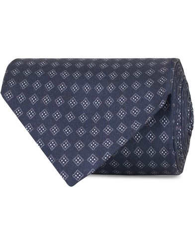Oscar Jacobson Medallion Silk 8,5 cm Tie Blue  i gruppen Accessoarer / Slipsar hos Care of Carl (13471210)