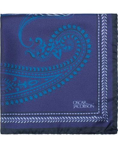 Oscar Jacobson Silk Paisley Pocket Square Navy  i gruppen Accessoarer / Näsdukar hos Care of Carl (13471510)