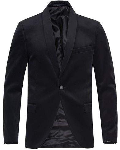 Tiger of Sweden Hubert Velvet Shawl Collar Blazer Black i gruppen Kavajer / Enkelknäppta kavajer hos Care of Carl (13473611r)