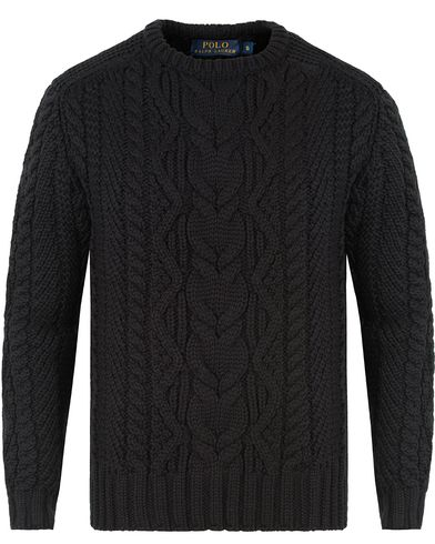 Polo Ralph Lauren Merino Cable Knit Polo Black i gruppen Design A / Gensere / Strikkede gensere hos Care of Carl (13474411r)