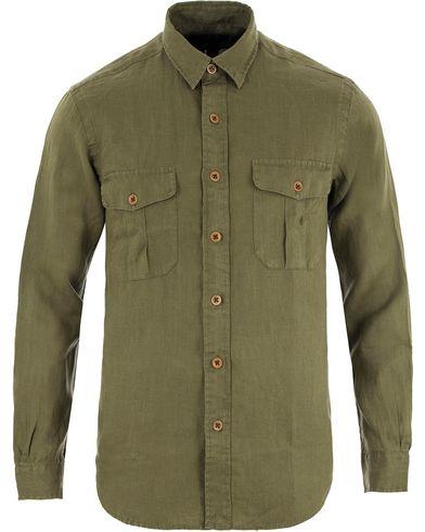 Polo Ralph Lauren Core Fit Linen Pocket Shirt Mill Olive i gruppen Skjortor / Linneskjortor hos Care of Carl (13478911r)