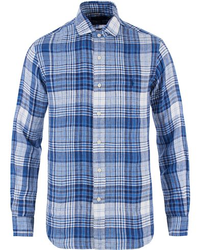 Polo Ralph Lauren Core Fit Linen Check Shirt Blue/White i gruppen Kläder / Skjortor / Linneskjortor hos Care of Carl (13479011r)