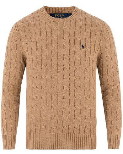 Polo Ralph Lauren Cotton Cable Pullover Camel Melange i gruppen Tröjor / Stickade tröjor hos Care of Carl (13480311r)