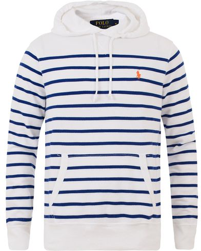Polo Ralph Lauren Striped Hoodie White/Heritage Royal Blue i gruppen Kläder / Tröjor / Huvtröjor hos Care of Carl (13481311r)