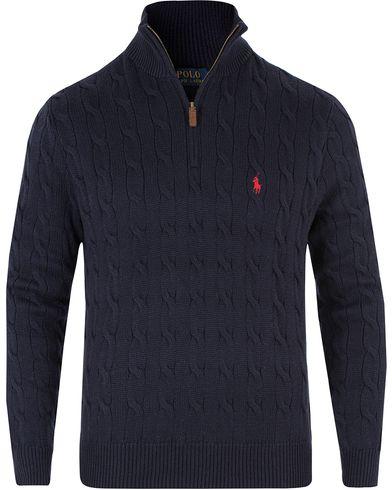 Polo Ralph Lauren Cotton Cable Half Zip Navy i gruppen Design A / Tröjor / Zip-tröjor hos Care of Carl (13481411r)