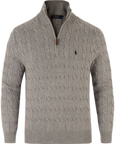 Polo Ralph Lauren Cotton Cable Half Zip Fawn Grey Heather i gruppen Tröjor / Zip-tröjor hos Care of Carl (13481511r)