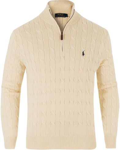 Polo Ralph Lauren Cotton Cable Half Zip Cream i gruppen Design A / Tröjor / Zip-tröjor hos Care of Carl (13481611r)