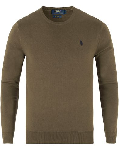 Polo Ralph Lauren Pima Cotton Crew Neck Olive i gruppen Design A / Tröjor / Pullovers / Rundhalsade pullovers hos Care of Carl (13482111r)