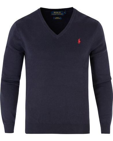 Polo Ralph Lauren Pima Cotton V-Neck Navy i gruppen Kläder / Tröjor / Pullovers / V-ringade pullovers hos Care of Carl (13482311r)