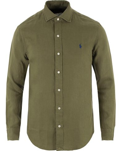 Polo Ralph Lauren Slim Fit Linen Shirt Mill Olive i gruppen Skjortor / Linneskjortor hos Care of Carl (13482511r)