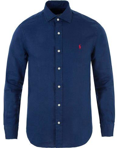 Polo Ralph Lauren Slim Fit Linen Shirt Holiday Navy i gruppen Skjortor / Linneskjortor hos Care of Carl (13482611r)