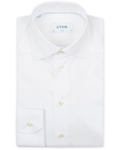 Eton Slim Fit Twill High Cut Away Collar Shirt White i gruppen Kläder / Skjortor / Formella skjortor hos Care of Carl (13486611r)