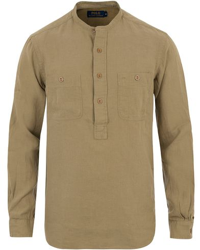 Polo Ralph Lauren Half Button Pocket Shirt Kahki i gruppen Skjortor / Casual skjortor hos Care of Carl (13488311r)