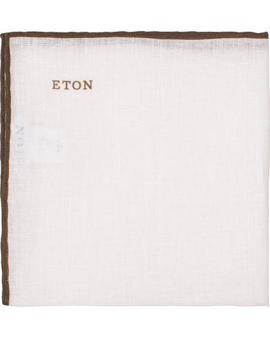 Eton Linen Hand Rolled Edge Pocket Square  White/Brown  i gruppen Accessoarer / Näsdukar hos Care of Carl (13495310)