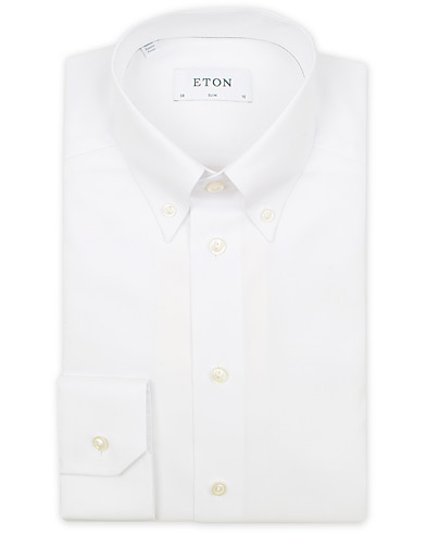 Eton Slim Fit Oxford High Collar Button Down White i gruppen Design A / Skjortor / Formella skjortor hos Care of Carl (13495711r)