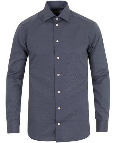 Eton Slim Fit Cut Away Micro Print Shirt Blue i gruppen Kläder / Skjortor / Formella skjortor hos Care of Carl (13497411r)