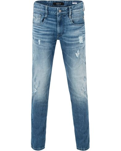Replay M914 Anbass Jeans Light Blue Hole i gruppen Kläder / Jeans / Avsmalnande jeans hos Care of Carl (13506811r)