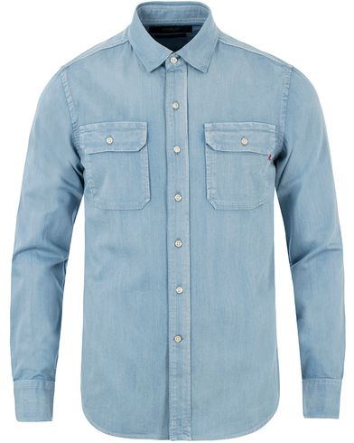 Replay M4963 Denim Double Pocket Shirt Light Blue i gruppen Skjortor / Jeansskjortor hos Care of Carl (13509111r)
