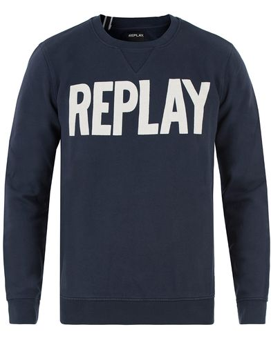Replay M3290 Logo Sweatshirt Navy i gruppen Tröjor / Sweatshirts hos Care of Carl (13509311r)