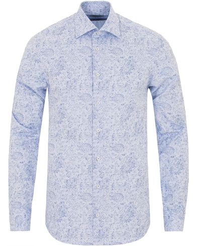 Stenströms Slimline Printed Check Flower Shirt  Light Blue i gruppen Skjortor / Casual skjortor hos Care of Carl (13513211r)