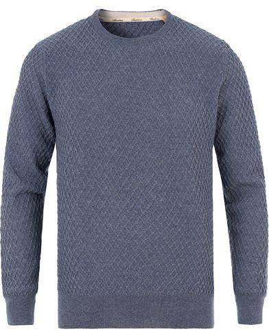 Stenströms Knitted Waffle Weave Crew Neck Blue i gruppen Tröjor / Stickade tröjor hos Care of Carl (13513811r)