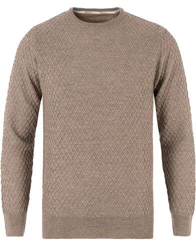 Stenströms Knitted Waffle Weave Crew Neck Beige i gruppen Kläder / Tröjor / Stickade tröjor hos Care of Carl (13513911r)