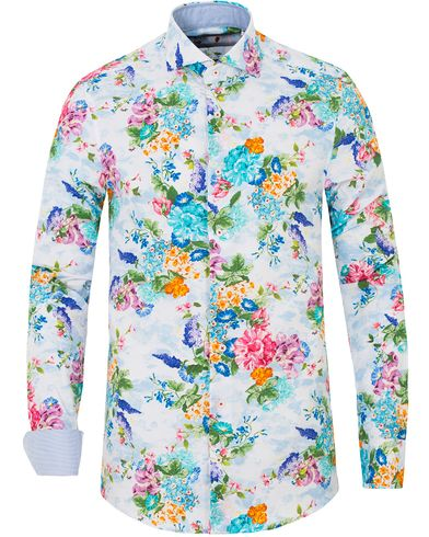 Stenströms Slimline Printed Flower Shirt White i gruppen Design A / Skjortor / Casual skjortor hos Care of Carl (13514511r)