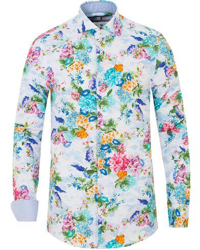 Stenströms Slimline Printed Flower Shirt White i gruppen Skjortor / Casual skjortor hos Care of Carl (13514511r)