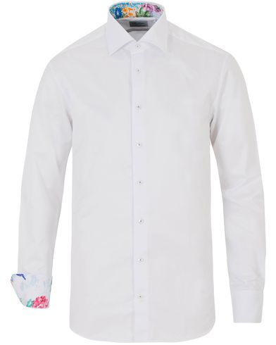 Stenströms Fitted Body Contrast Flower Shirt White i gruppen Design A / Skjortor hos Care of Carl (13515111r)