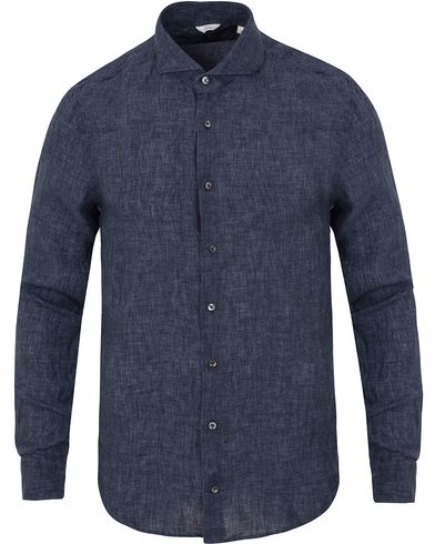 Stenströms Slimline Garment Washed Linen Shirt Dark Blue i gruppen Design A / Skjortor / Linneskjortor hos Care of Carl (13516611r)