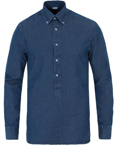 Stenströms Slimline Garment Washed Popover Shirt Dark Blue i gruppen Skjortor / Casual skjortor hos Care of Carl (13517811r)