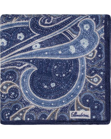 Stenströms Printed Paisley Cotton Pocket Square Blue  i gruppen Accessoarer / Näsdukar hos Care of Carl (13519310)