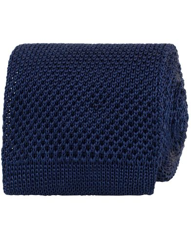 Stenströms Knitted 7 cm Tie Navy  i gruppen Design A / Accessoarer / Slipsar hos Care of Carl (13519510)